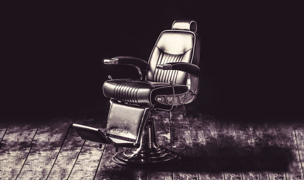 Stylish vintage barber chair. Barbershop armchair, modern hairdresser and hair salon, barber shop for men. Professional hair stylist in barber shop interior. Barber shop chair. Vintage style