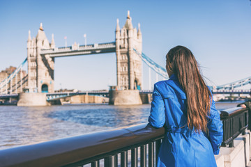 Wall Mural - London travel woman looking at Tower Bridge. Urban lifestyle tourism Europe tourist city destination vacation person enjoying view of famous attraction, England, Great Britain, UK.