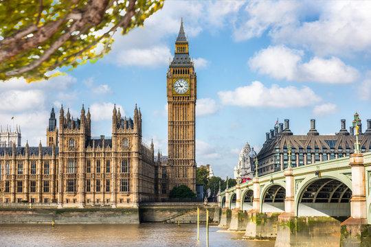 London Big Ben Europe travel destination in spring summer autumn season. European urban city.