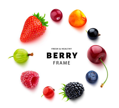 Assortment of different berries isolated on white background, flat lay, top view