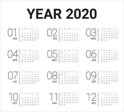 Year 2020 calendar vector design template