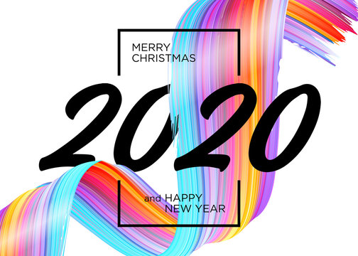 2020 Happy New Year Background Design. Vector Greeting Card with Abstract Gradient Brushstroke. Colorful Illustration for 2020 Christmas Calendar, Poster, Social Media Template. Xmas Design Element.
