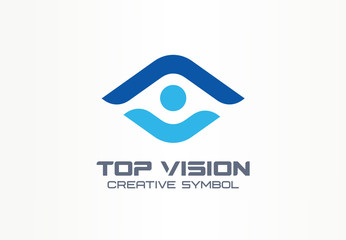Top vision, man eye creative symbol concept. Protect people, security, care abstract business logo idea. Growth, progress, arrow up icon. Corporate identity logotype, company graphic design tamplate