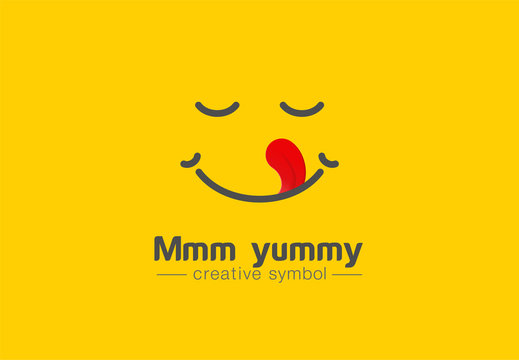 Yummy smile, tongue in heart shape creative symbol concept. Delicious, taste, pleasure abstract business logo idea. Tasty food, cook icon. Corporate identity logotype, company graphic design tamplate