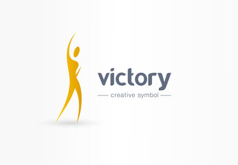 Victory, winner creative symbol concept. Happiness, celebration abstract business logo idea. Hand up man silhouette, happy person icon. Corporate identity logotype, company graphic design tamplate Wall mural
