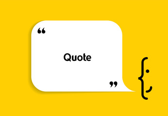 White speech bubble shape and smile on yellow background. Empty space for creative quote, comment, motivational text, quotation, message. Vector frame template. Modern design element.