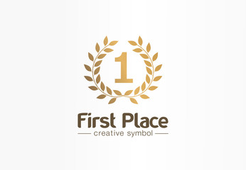 First place, number one, golden laurel wreath creative symbol concept. Trophy, prize abstract business logo idea. Award, win, winner icon. Corporate identity logotype, company graphic design tamplate