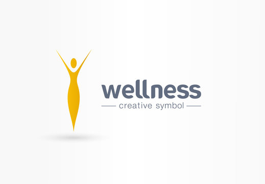 Wellness, yoga girl silhouette creative symbol concept. Healthy lifestyle, beauty saloon abstract business logo idea. Slim woman body icon. Corporate identity logotype, company graphic design tamplate