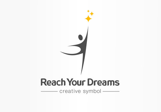 Reach your dreams creative symbol concept. Success, goal, graduate abstract business logo idea. Happy kid, man silhouette and stars icon. Corporate identity logotype, company graphic design tamplate