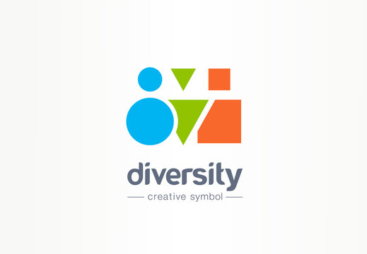 Diversity creative symbol concept. Different shape people, multiethnic community abstract business logo idea. Partnership, friends icon. Corporate identity logotype, company graphic design tamplate