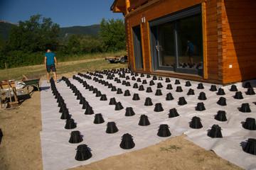 Foto auf Acrylglas Braun construire une terrasse