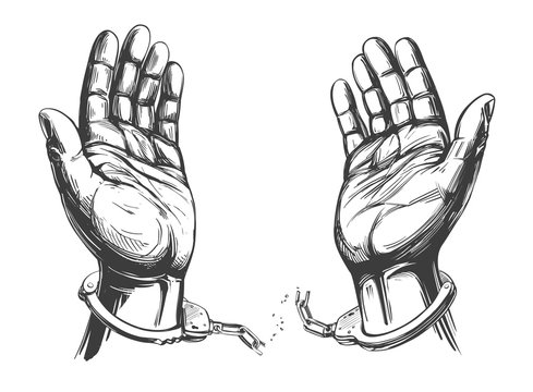 hands break the chain handcuffs, a symbol of freedom and forgiveness icon hand drawn vector illustration sketch