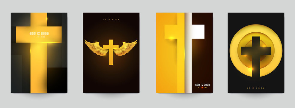 Set of creative modern religious concept with christian cross. Template background for covers, invitations, posters, banners, flyers, placards. Colorful vector illustration.