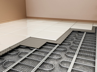 Ground heating system structural detail. 3D illustration
