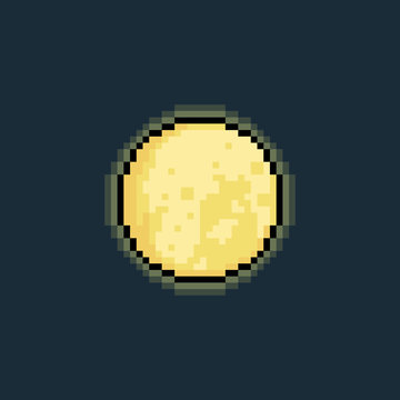 Pixel art 8bit moon icon with glowing light.8bit.