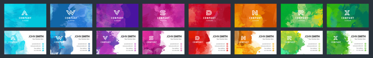 Big set of bright colorful business card template with vector watercolor background