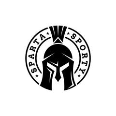 emblem spartan helmet logo vector. stamp seal style. warrior sport symbol