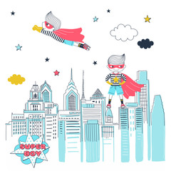 Super boy vector cartoon banner template. Brave little children in mask and cloaks comic book characters. Childhood fantasy, imagination. Super kids protecting city illustration with lettering