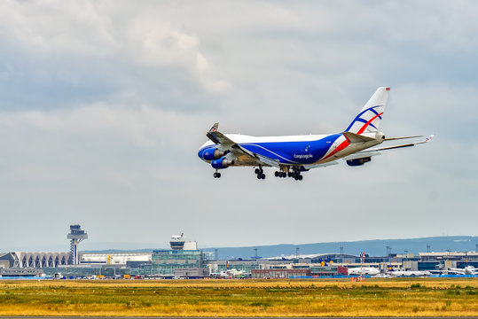 AIRPORT FRANKFURT,GERMANY: JUNE 23, 2017: Boeing 747 CargoLogicAir is a British all-cargo airline with its headquarters in the London Stansted Airport.