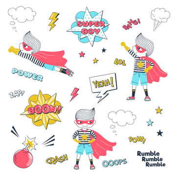 Comic book superhero vector illustrations set. Little kid in hero costume cartoon character. Super child, speech bubbles and explosion sound effects. Childish masquerade, cosplay, birthday party