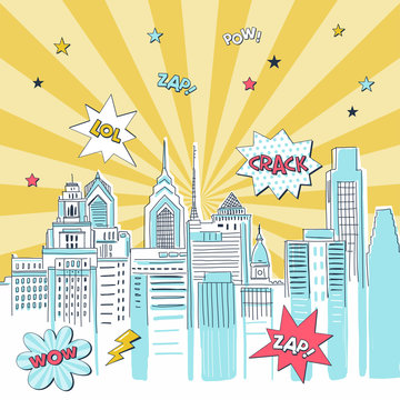 Superhero comic book city vector illustration. Vintage super hero action cartoon banner concept. Cityscape with fight bubbles, sound effects lettering. Skyscrapers on colorful radial background