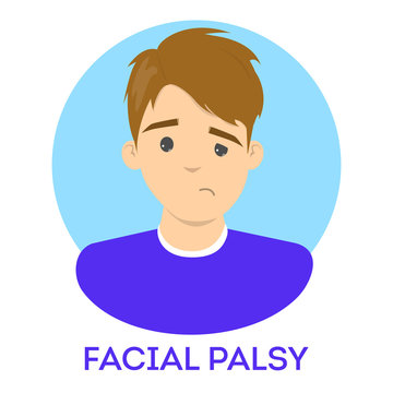 Facial palsy. Male character with assymetrical face