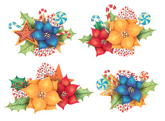 Set of christmas arrangements with poinsettia, leaves, lollipop, candy, gigngerbread, berries. Hand drawn illustration.