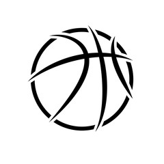 Black abstract basketball symbol isolated on white background