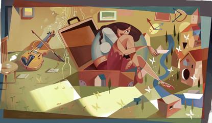 Obraz Art, literature and art, freehand brushwork, mood, cubism, music, music, notes, elegance, illustration, fantasy, imagination, fantasy, dream, girl, woman, violin, box, house, sunshine, - fototapety do salonu