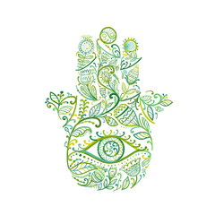 Indian ornate hand Hamsa, symbol.