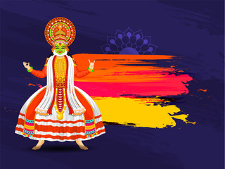 Illustration of Kathakali dancer on abstract brush stroke background with space for your message. Can be used as poster or banner design.