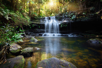Deurstickers Watervallen Bushland waterfall and oasis