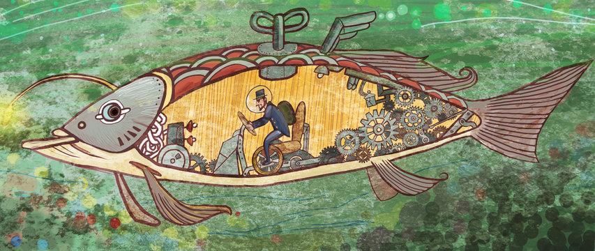Fish, swimming, submarine, toys, children, fantasy, fantasy, magic, fairy tale, little man country, illustration, seabed,