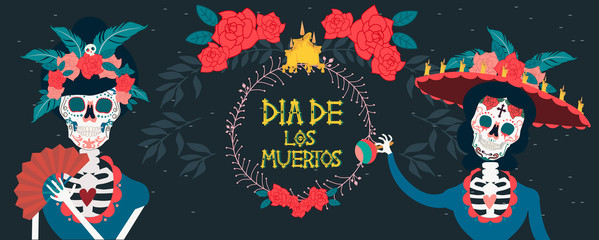 """Day of the dead festival poster with skeleton. Mexican traditional holiday. Mexican wording translation: """"Day of the dead"""". Editable vector illustration."""