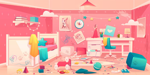 Messy bedroom of little girl with spider web on ceiling, scattered toys, clothes, pencils and crumpled paper, torn picture on dirty walls, drawn, stained table and floor cartoon vector illustration