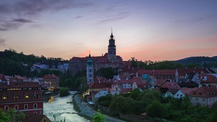 Wall Mural - Time Lapse video of Cesky Krumlov old town in Czech Republic