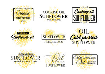 Sunflower Oil Logos Set, Technology Wildflower Logo Templates for Brabding Identty. Yellow and Black Vector Isolated Flowers Hand Drawings with Lettering and Frames