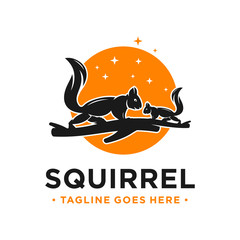 squirrel and circle logo design template