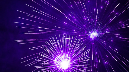 Purple firework in the night sky. Violet fireworks