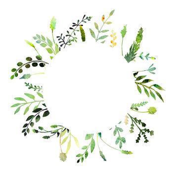 Watercolor herbal floral wreath.
