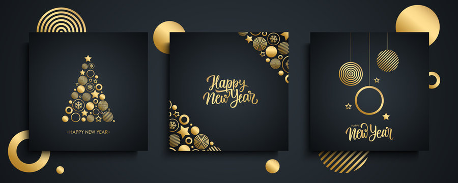 Happy New Year luxury greeting cards set. New Year holiday invitations templates collection with hand drawn lettering and gold christmas balls. Vector illustration.