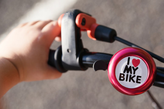 Kid's bicycle bell with text I love my bike