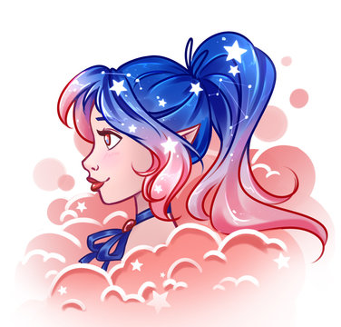 Pretty cartoon girl with shine cosmos hair in blue and pink colors.