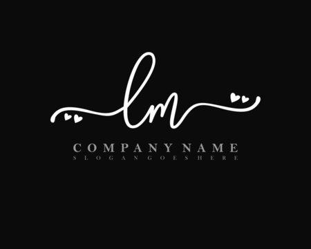 LM Initial handwriting, Feminine logo design template vector
