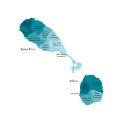 Vector isolated illustration of simplified administrative map of Saint Kitts and Nevis. Borders and names of the parishes (regions). Colorful blue khaki silhouettes