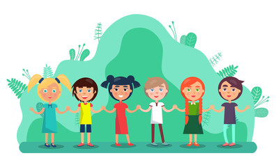 Aluminium Prints Rainbow Group of children holding hands and smiling. Full length view of cute little kids in colourful clothes standing together in park. Friendship and childhood vector. Flat cartoon