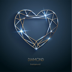 Abstract luxury template with golden heart-shaped diamond outline - eps10 vector