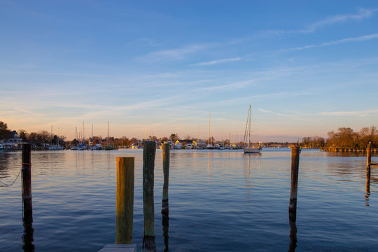 Harbor View  at sunset in Solomons Island Calvert County Southern Maryland