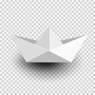 Origami white paper ship,boat isolated on transparent background