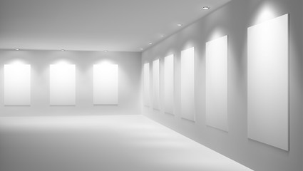 Blank, white posters, banners or paintings frames, illuminated with bright lamps on ceiling, hanging on walls in modern art gallery realistic vector. Museum empty exhibition hall interior illustration